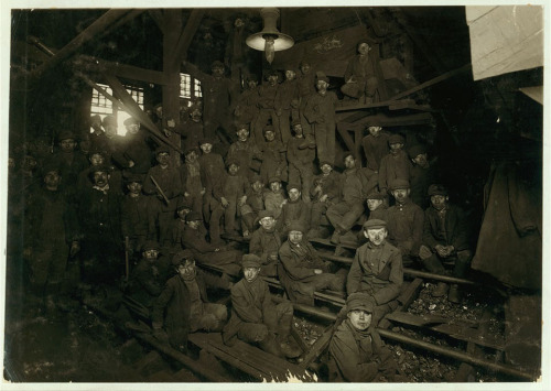 Noon hour in the Ewen Breaker, Pennsylvania Coal Co. Location: South Pittston, Pennsylvania.