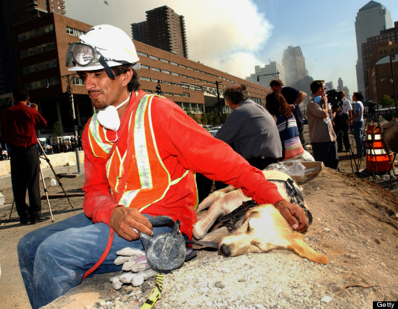 Saul Apunte and dog Shannon rest after a day of searching for survivors of the World Trade Center terrorist attack. (Photo by KMazur/WireImage)