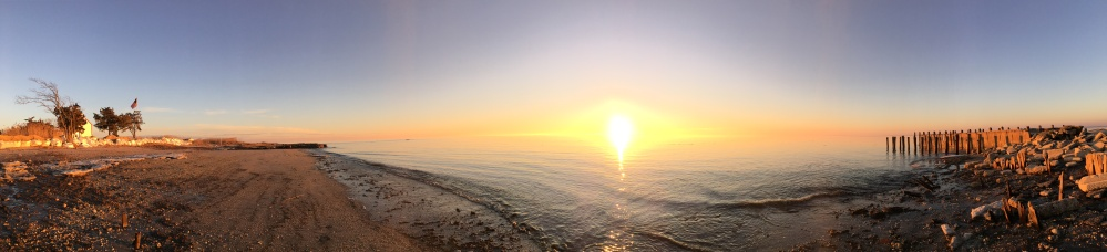 panoramic sunset at East Point light house