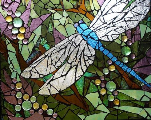 mosaic stained glass blue dragonfly
